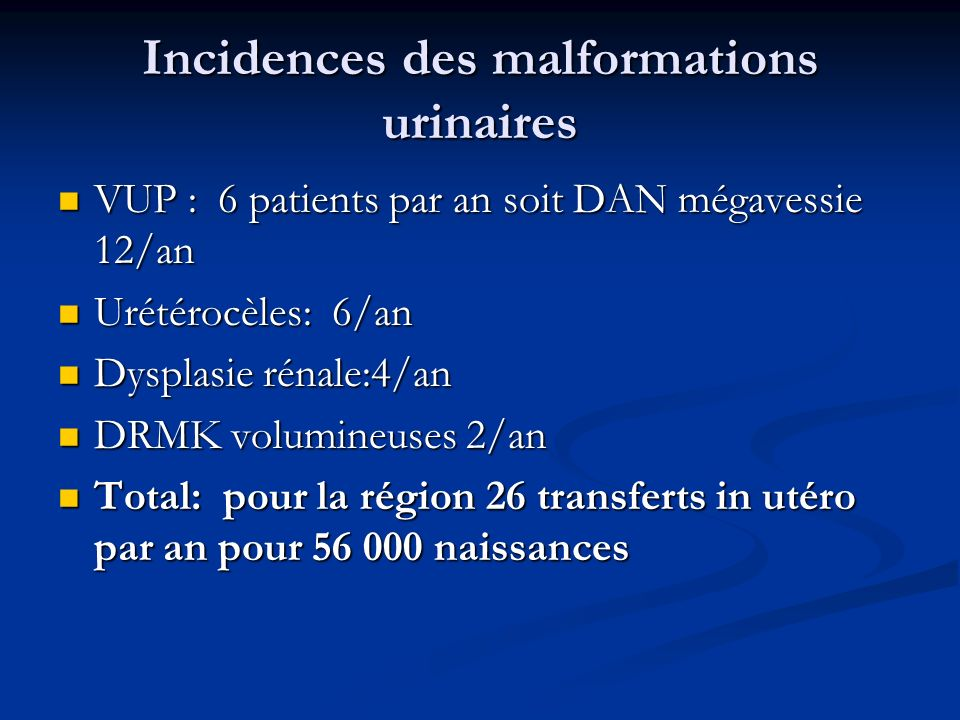 Incidences des malformations urinaires VUP : 6 patients par an soit DAN mégavessie 12/an VUP : 6 patients par an soit DAN mégavessie 12/an Urétérocèle