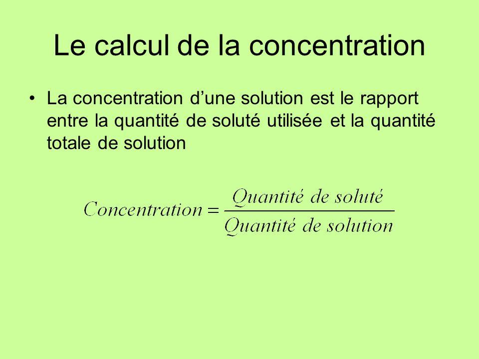 La concentration exprimée en unités de masse et de volume En g/L: où C (solution) : concentration de la solution en g/L m (soluté) : masse du soluté en g V (solution) : volume de la solution en L