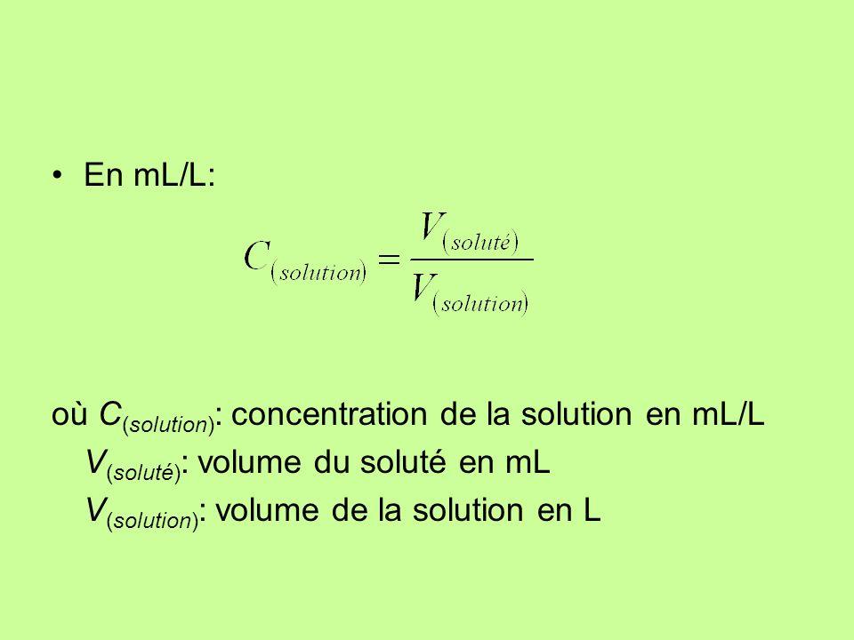 Exemples Quelle sera la concentration du sel dans 4 L deau si on met 160 g de sel .