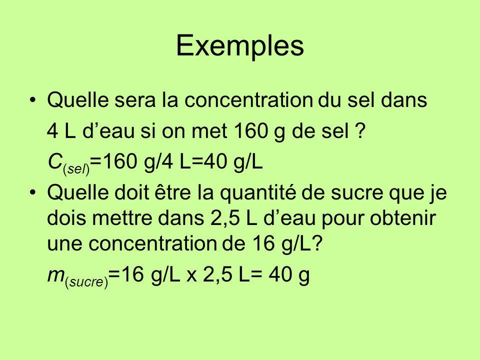 Exemples (Suite) On veut préparer une solution avec une concentration de 25 g/L en utilisant 65 g de soluté.