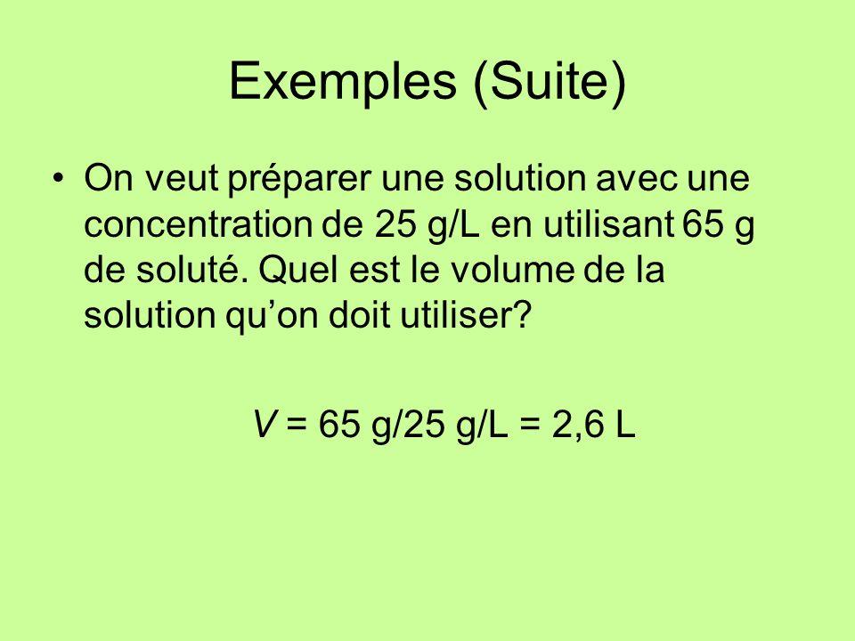 Exemples (Suite) On veut préparer une solution avec une concentration de 25 g/L en utilisant 65 g de soluté. Quel est le volume de la solution quon do