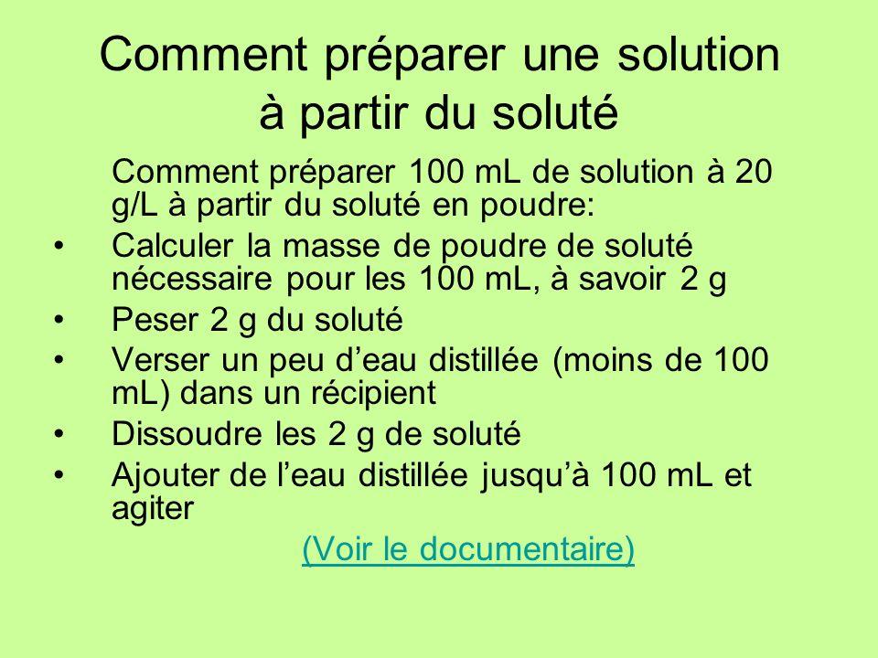 Comment préparer une solution à partir du soluté Comment préparer 100 mL de solution à 20 g/L à partir du soluté en poudre: Calculer la masse de poudr