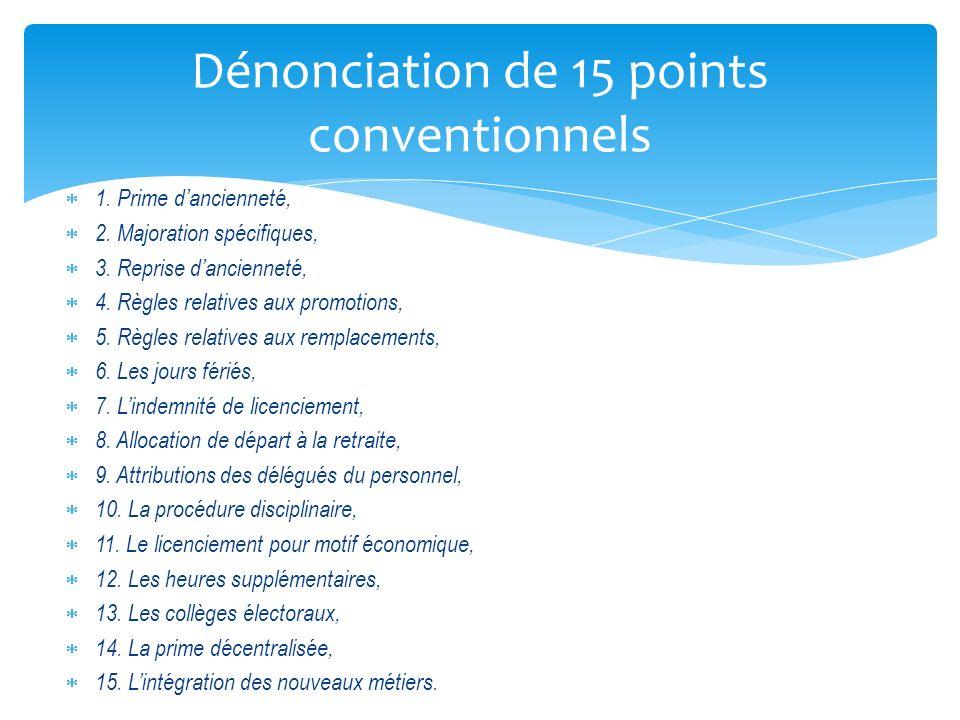 1. Prime dancienneté, 2. Majoration spécifiques, 3. Reprise dancienneté, 4. Règles relatives aux promotions, 5. Règles relatives aux remplacements, 6.