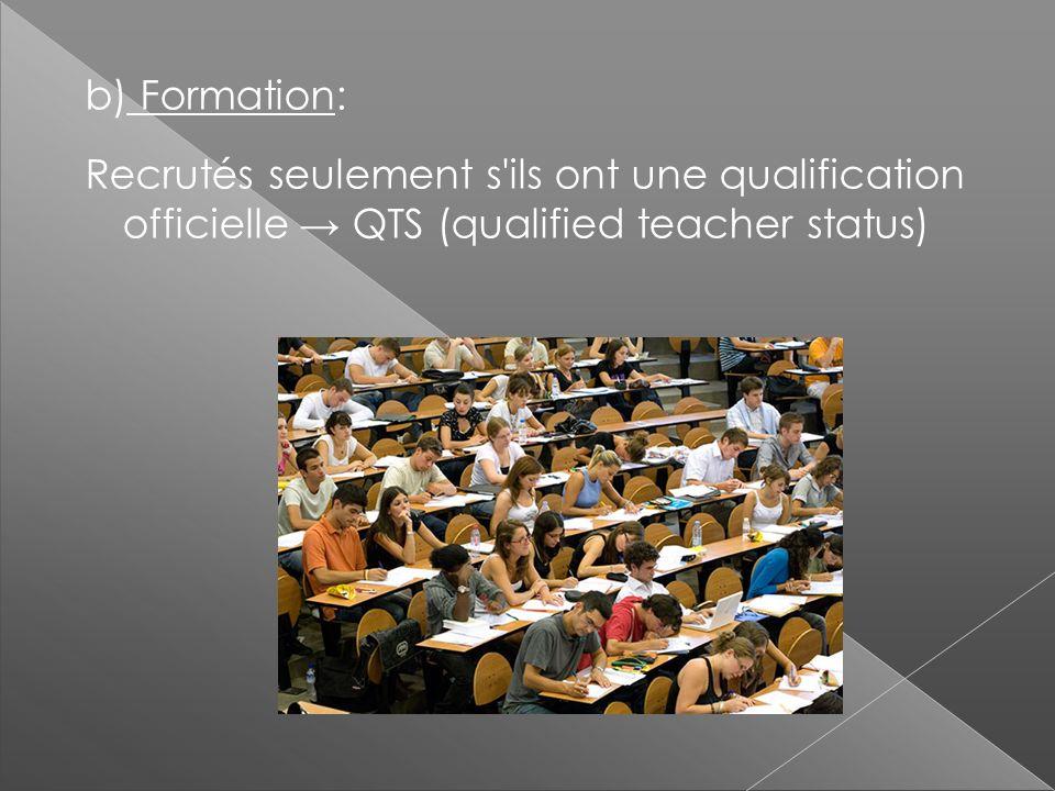 b) Formation: Recrutés seulement s'ils ont une qualification officielle QTS (qualified teacher status)