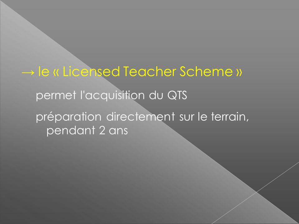 le « Licensed Teacher Scheme » permet l'acquisition du QTS préparation directement sur le terrain, pendant 2 ans