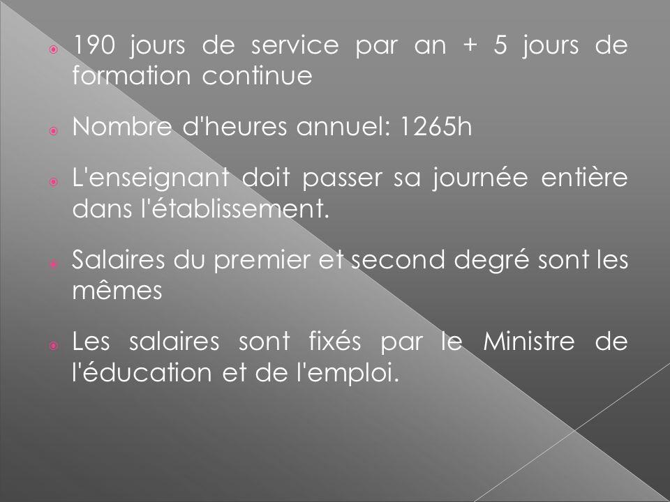 190 jours de service par an + 5 jours de formation continue Nombre d'heures annuel: 1265h L'enseignant doit passer sa journée entière dans l'établisse
