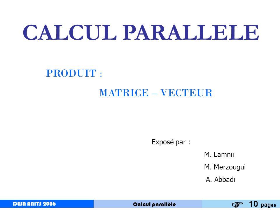 DESA ANITS 2006 Calcul parallèle DESA ANITS 2006 2 PRODUIT MATRICE - VECTEUR Soit A une matrice carré de taille n, et x un vecteur de taille n.