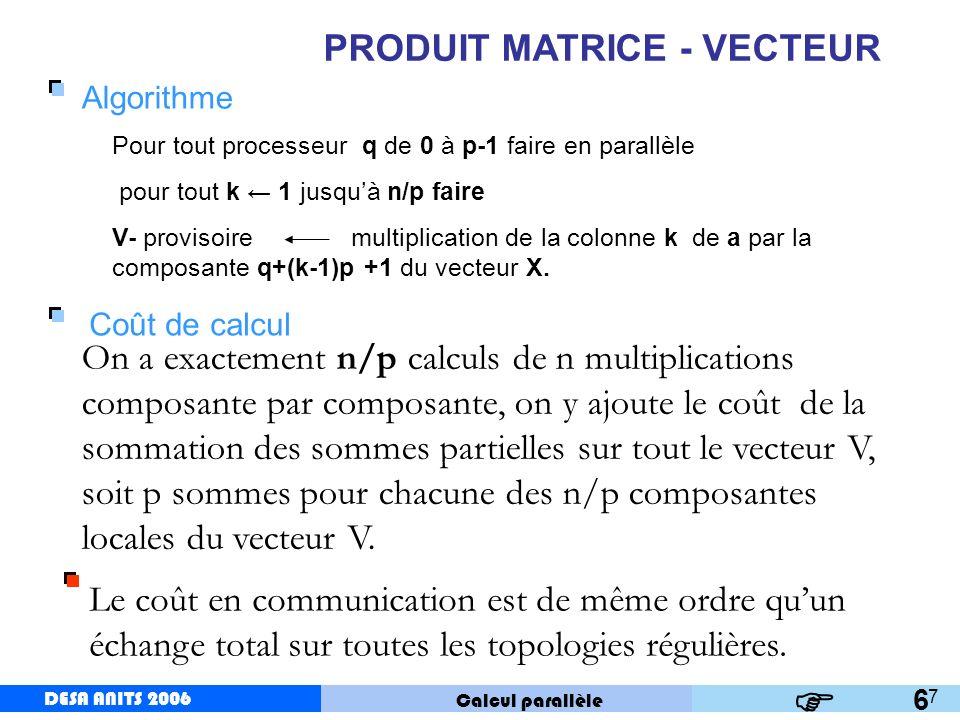 DESA ANITS 2006 Calcul parallèle DESA ANITS 2006 8 PRODUIT MATRICE - VECTEUR Version par blocs 7 Solution intermédiaire entre la version par lignes et celle par colonnes permettant de réduire le coût en communication.