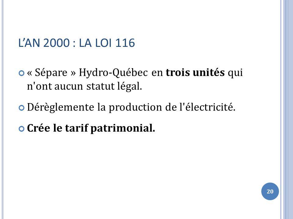 LAN 2000 : LA LOI 116 « Sépare » Hydro-Québec en trois unités qui n ont aucun statut légal.