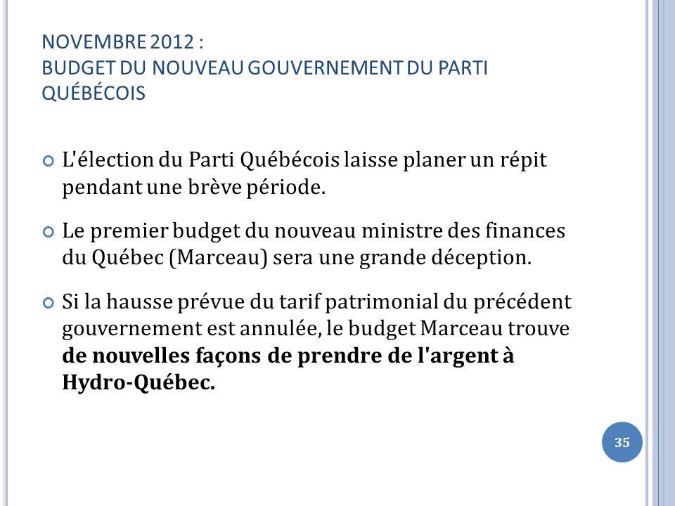NOVEMBRE 2012 : BUDGET DU NOUVEAU GOUVERNEMENT DU PARTI QUÉBÉCOIS L élection du Parti Québécois laisse planer un répit pendant une brève période.