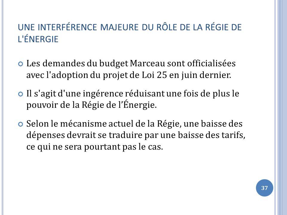 UNE INTERFÉRENCE MAJEURE DU RÔLE DE LA RÉGIE DE L ÉNERGIE Les demandes du budget Marceau sont officialisées avec l adoption du projet de Loi 25 en juin dernier.