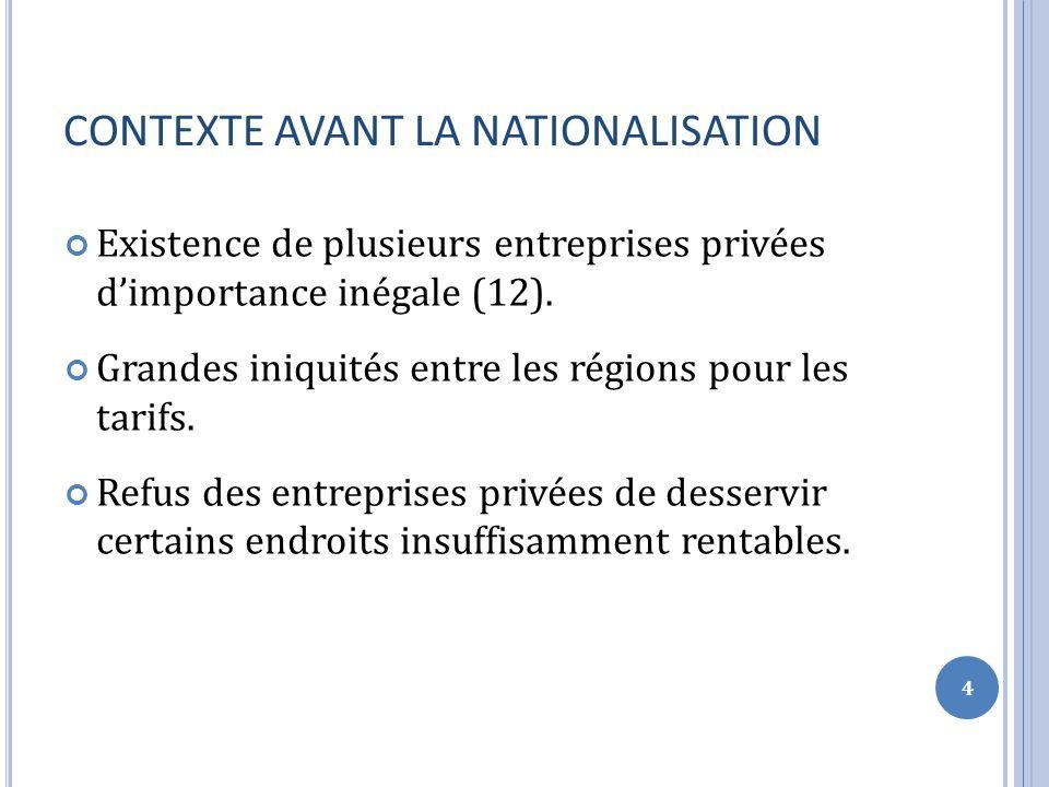 CONTEXTE AVANT LA NATIONALISATION Existence de plusieurs entreprises privées dimportance inégale (12).