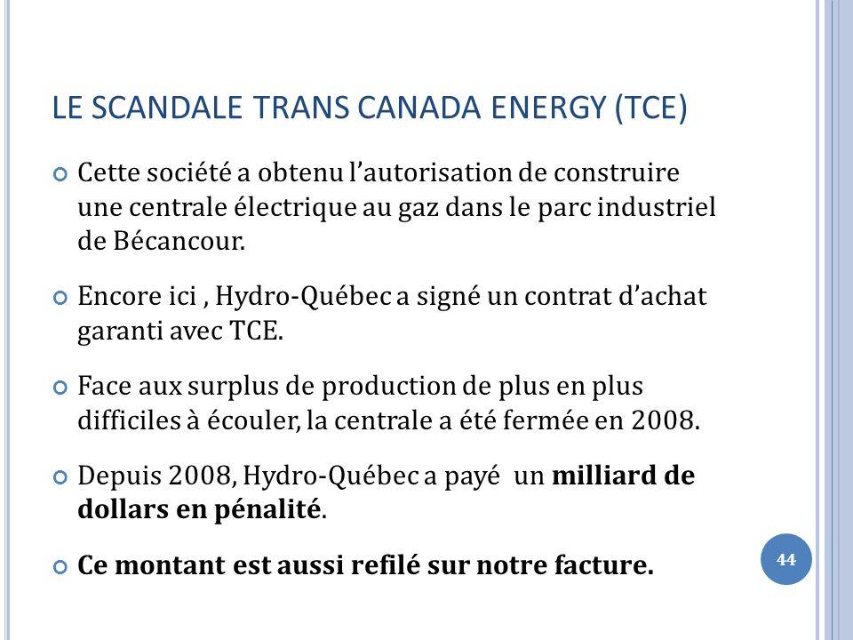 LE SCANDALE TRANS CANADA ENERGY (TCE) Cette société a obtenu lautorisation de construire une centrale électrique au gaz dans le parc industriel de Bécancour.