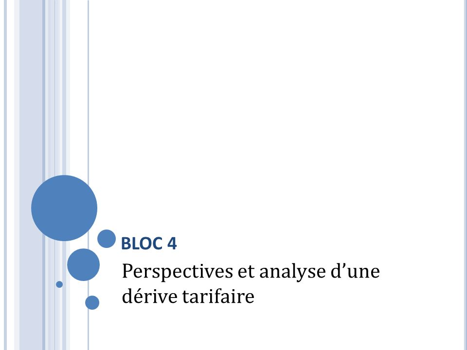 BLOC 4 Perspectives et analyse dune dérive tarifaire