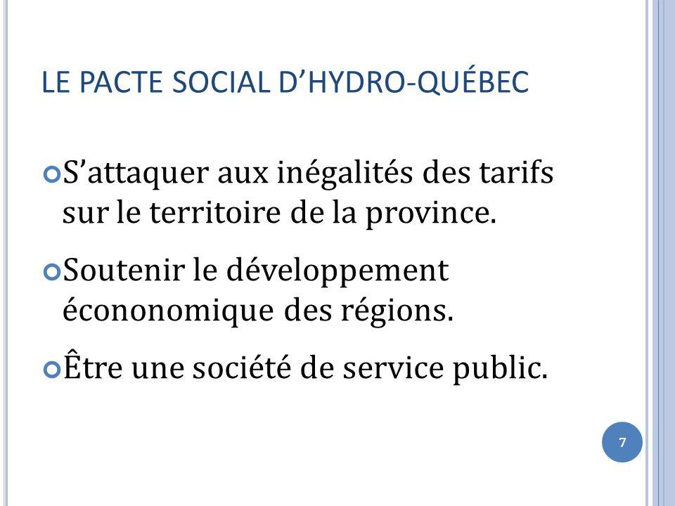 LE PACTE SOCIAL DHYDRO-QUÉBEC Sattaquer aux inégalités des tarifs sur le territoire de la province.