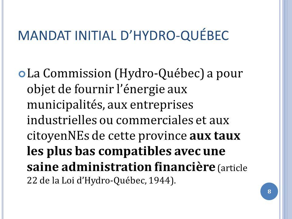 QUESTIONS… Quen pensez-vous.Est-ce que le mandat dHydro-Québec est le même aujourdhui.