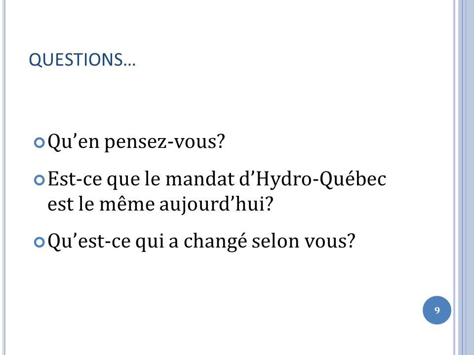 QUESTIONS… Quen pensez-vous. Est-ce que le mandat dHydro-Québec est le même aujourdhui.
