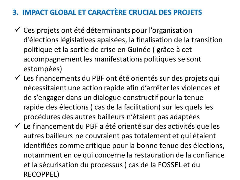 3. IMPACT GLOBAL ET CARACTÈRE CRUCIAL DES PROJETS Ces projets ont été déterminants pour lorganisation délections législatives apaisées, la finalisatio