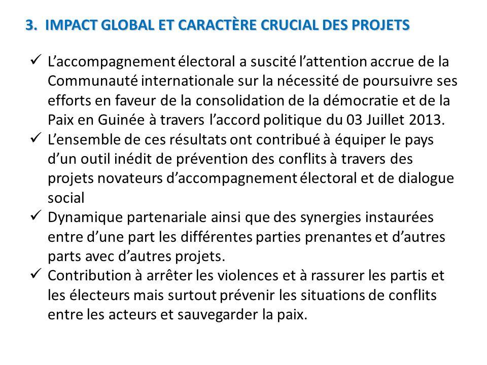 3. IMPACT GLOBAL ET CARACTÈRE CRUCIAL DES PROJETS Laccompagnement électoral a suscité lattention accrue de la Communauté internationale sur la nécessi