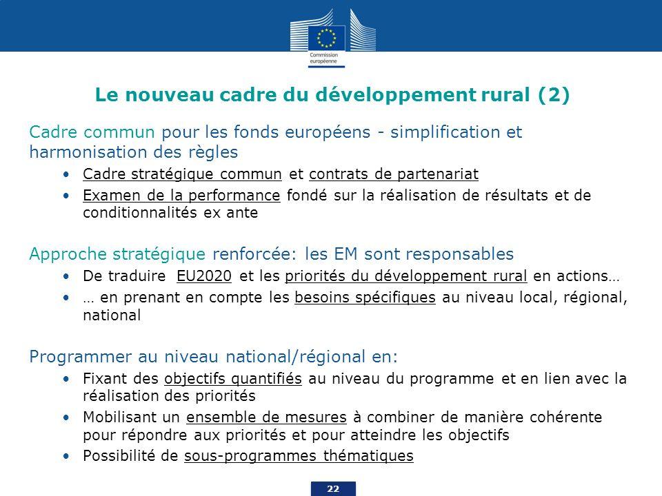 22 Le nouveau cadre du développement rural (2) Cadre commun pour les fonds européens - simplification et harmonisation des règles Cadre stratégique commun et contrats de partenariat Examen de la performance fondé sur la réalisation de résultats et de conditionnalités ex ante Approche stratégique renforcée: les EM sont responsables De traduire EU2020 et les priorités du développement rural en actions… … en prenant en compte les besoins spécifiques au niveau local, régional, national Programmer au niveau national/régional en: Fixant des objectifs quantifiés au niveau du programme et en lien avec la réalisation des priorités Mobilisant un ensemble de mesures à combiner de manière cohérente pour répondre aux priorités et pour atteindre les objectifs Possibilité de sous-programmes thématiques