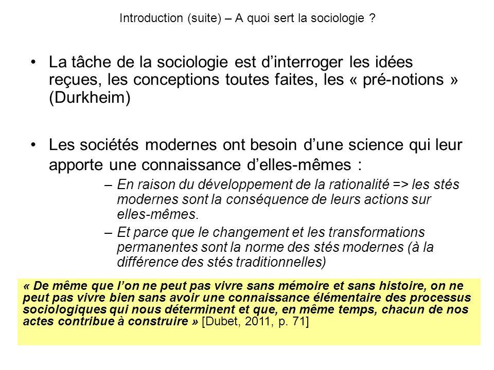 La tâche de la sociologie est dinterroger les idées reçues, les conceptions toutes faites, les « pré-notions » (Durkheim) Les sociétés modernes ont besoin dune science qui leur apporte une connaissance delles-mêmes : –En raison du développement de la rationalité => les stés modernes sont la conséquence de leurs actions sur elles-mêmes.