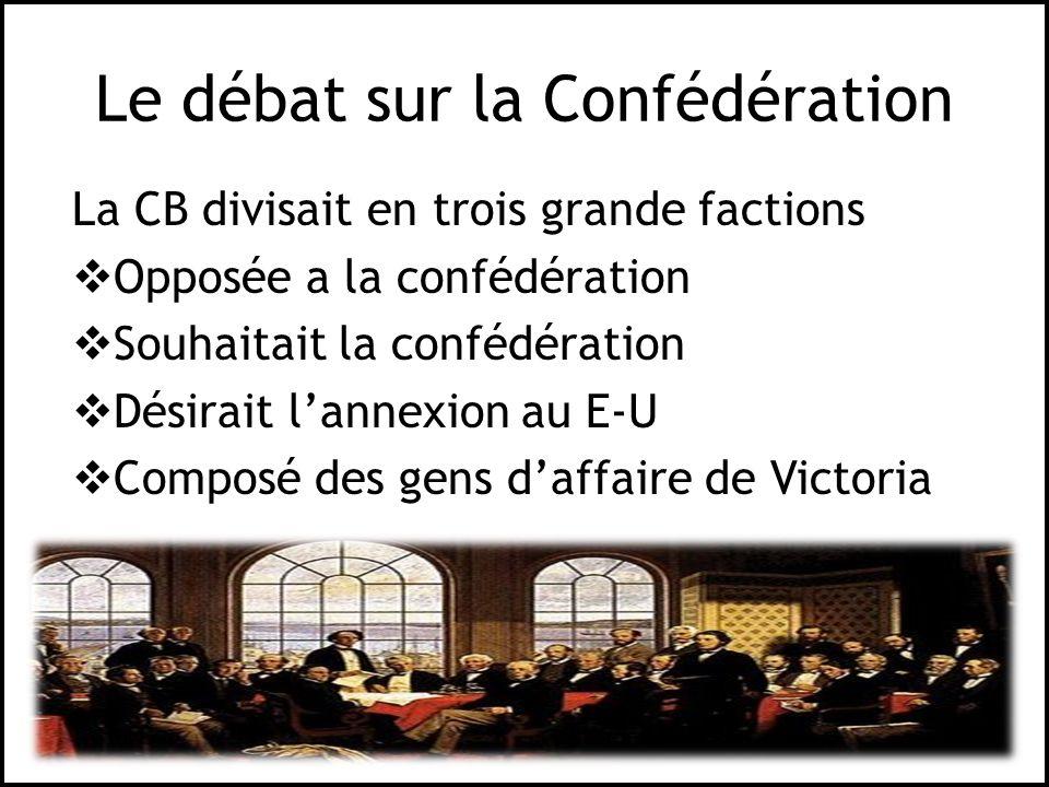 Le débat sur la Confédération La CB divisait en trois grande factions Opposée a la confédération Souhaitait la confédération Désirait lannexion au E-U
