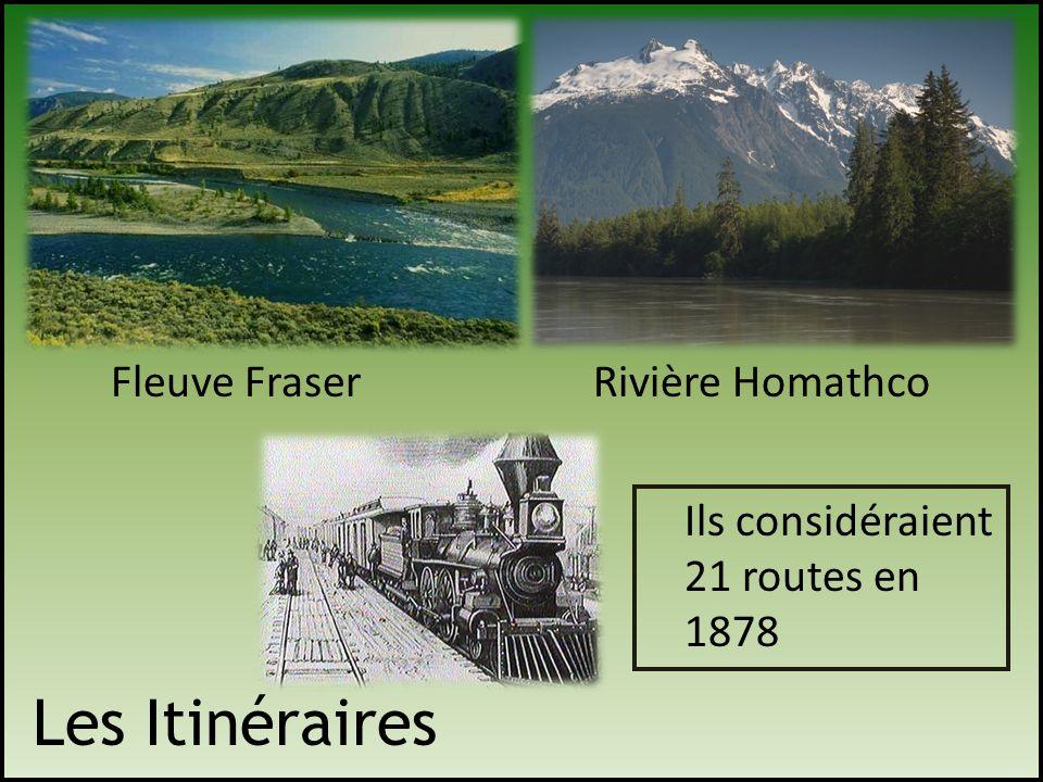Les Itinéraires Fleuve FraserRivière Homathco Ils considéraient 21 routes en 1878