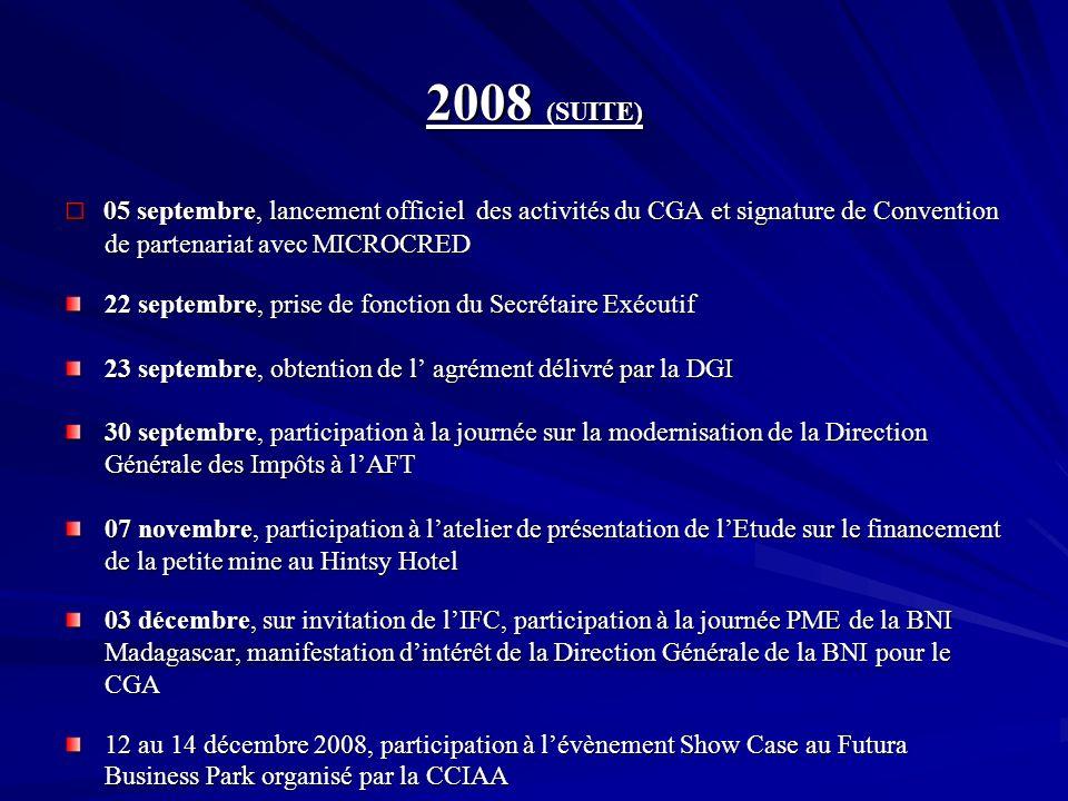 2008 (SUITE) 05 septembre, lancement officiel des activités du CGA et signature de Convention de partenariat avec MICROCRED 05 septembre, lancement of