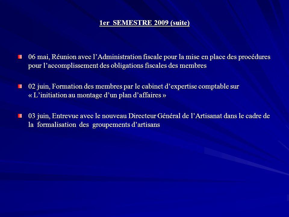 1er SEMESTRE 2009 (suite) 06 mai, Réunion avec lAdministration fiscale pour la mise en place des procédures pour laccomplissement des obligations fisc