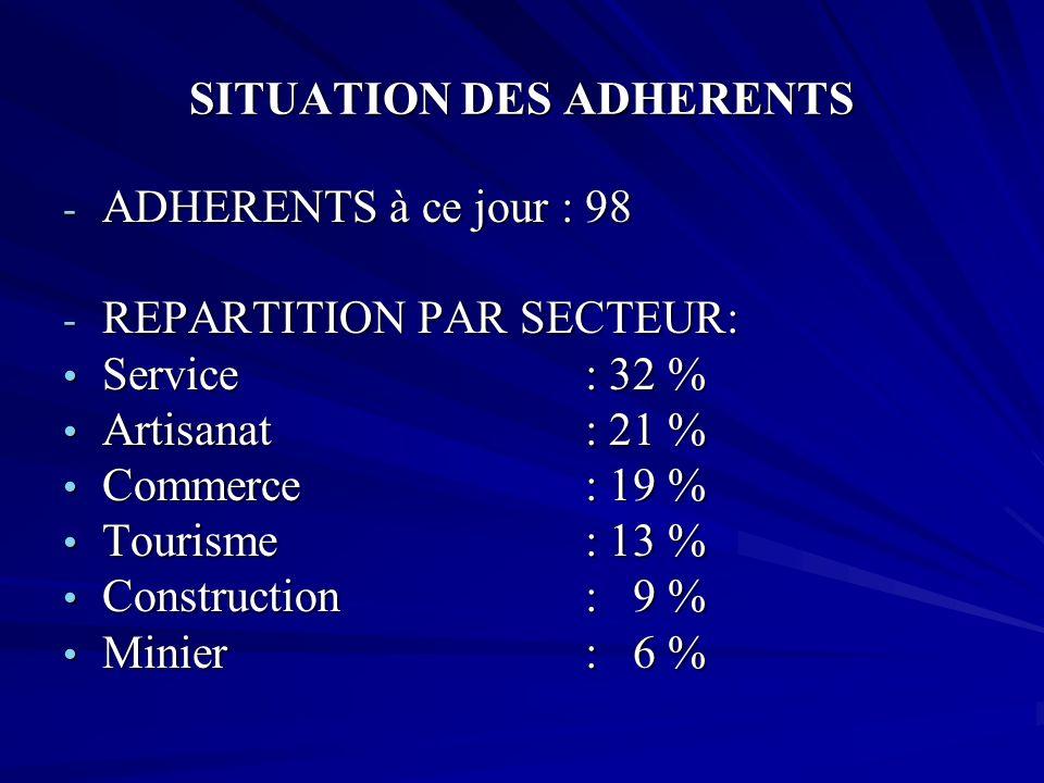 SITUATION DES ADHERENTS - ADHERENTS à ce jour : 98 - REPARTITION PAR SECTEUR: Service: 32 % Service: 32 % Artisanat: 21 % Artisanat: 21 % Commerce: 19
