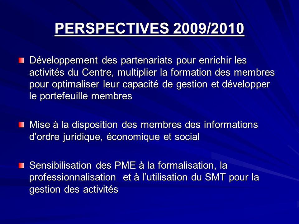 PERSPECTIVES 2009/2010 Développement des partenariats pour enrichir les activités du Centre, multiplier la formation des membres pour optimaliser leur