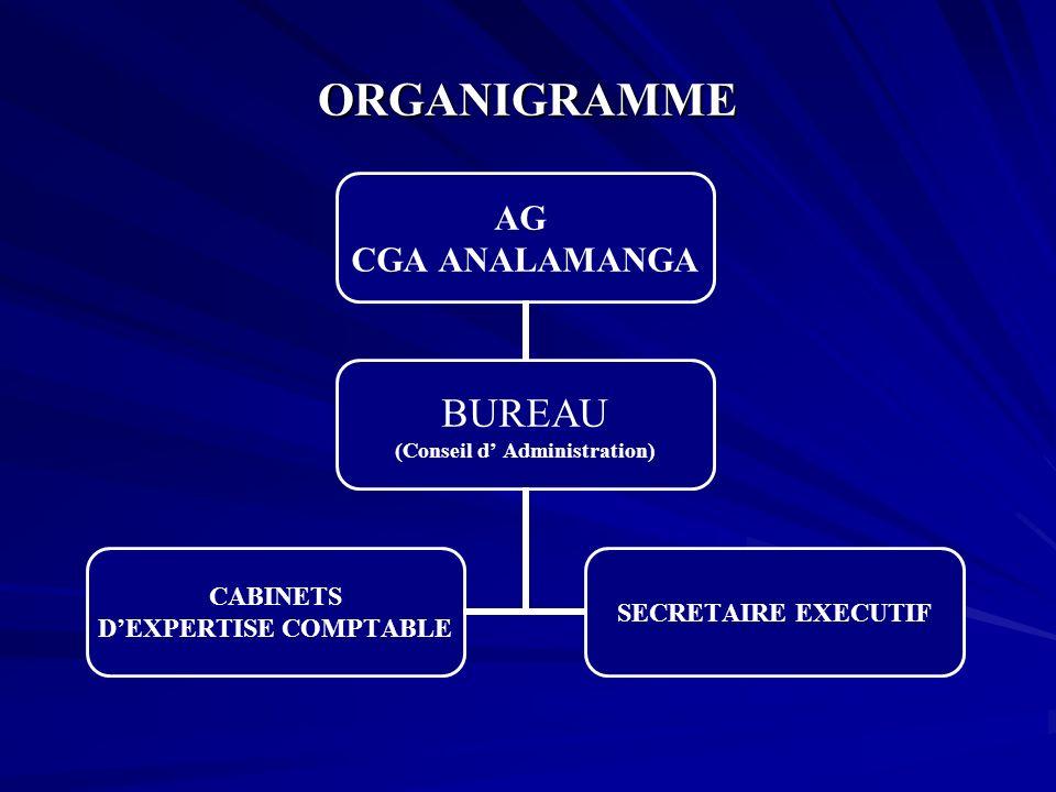 ORGANIGRAMME AG CGA ANALAMANGA BUREAU (Conseil d Administration) CABINETS DEXPERTISE COMPTABLE SECRETAIRE EXECUTIF