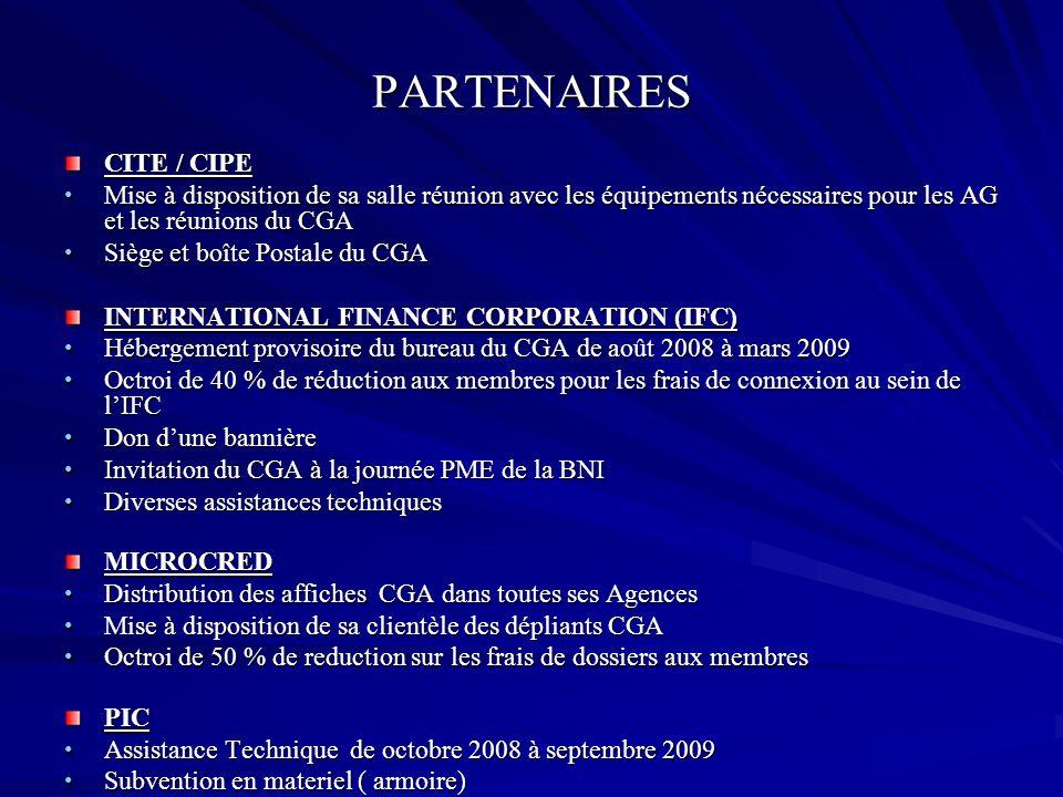 PARTENAIRES CITE / CIPE Mise à disposition de sa salle réunion avec les équipements nécessaires pour les AG et les réunions du CGA Mise à disposition