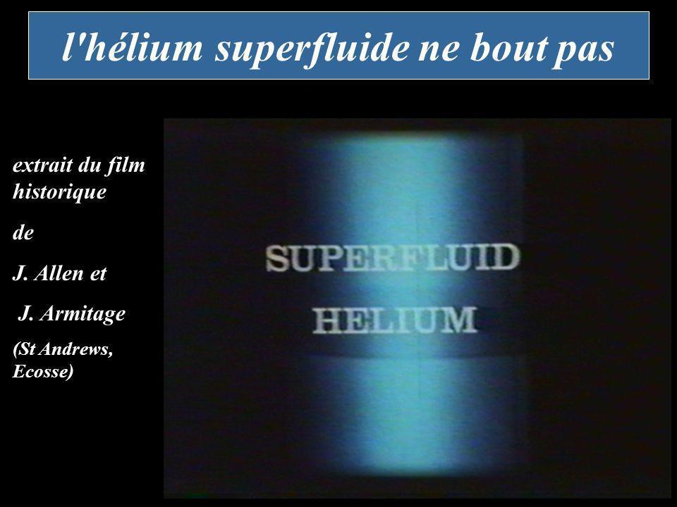l'hélium superfluide ne bout pas extrait du film historique de J. Allen et J. Armitage (St Andrews, Ecosse)
