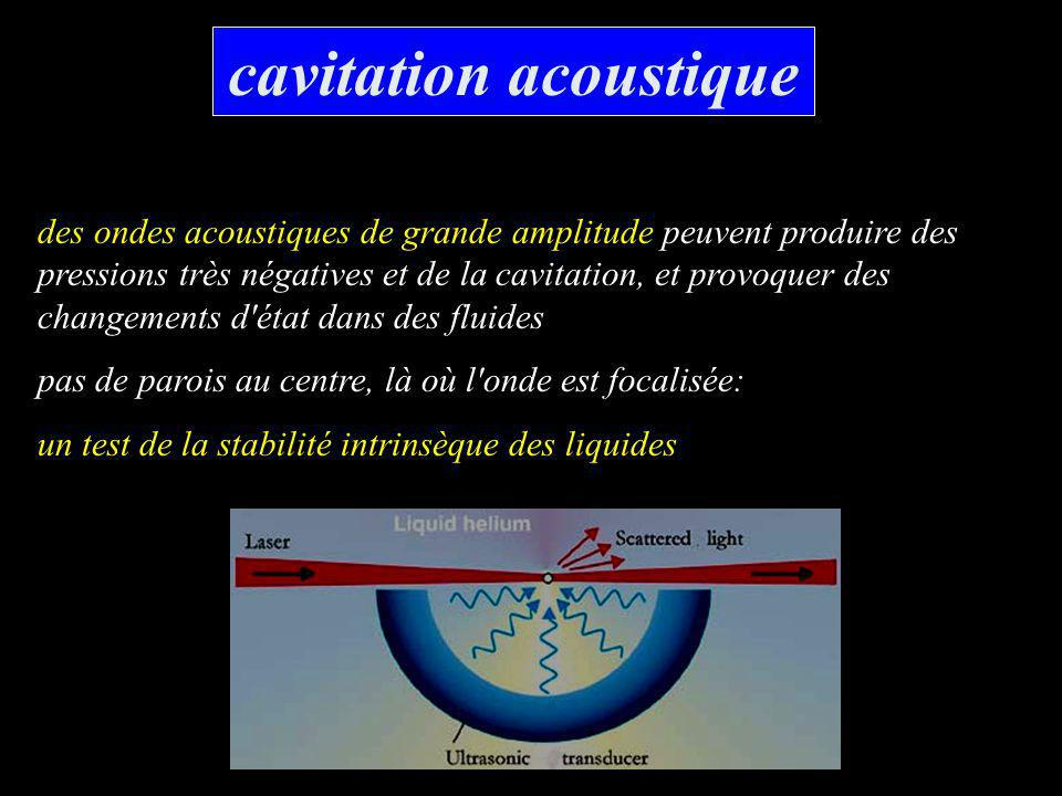 cavitation acoustique des ondes acoustiques de grande amplitude peuvent produire des pressions très négatives et de la cavitation, et provoquer des ch