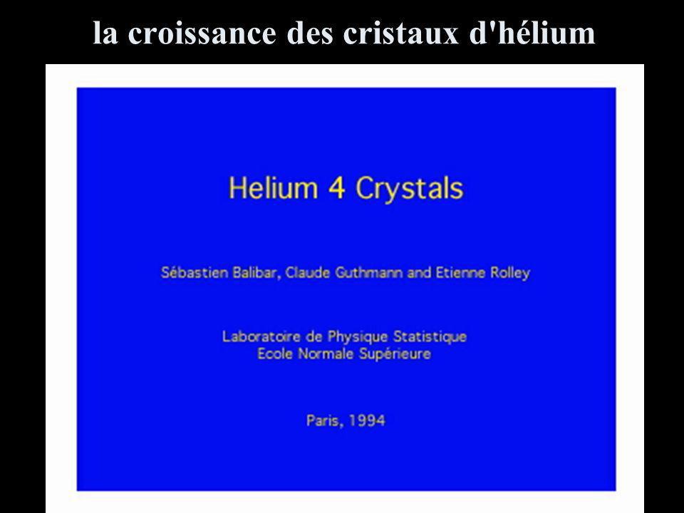 la croissance des cristaux d'hélium