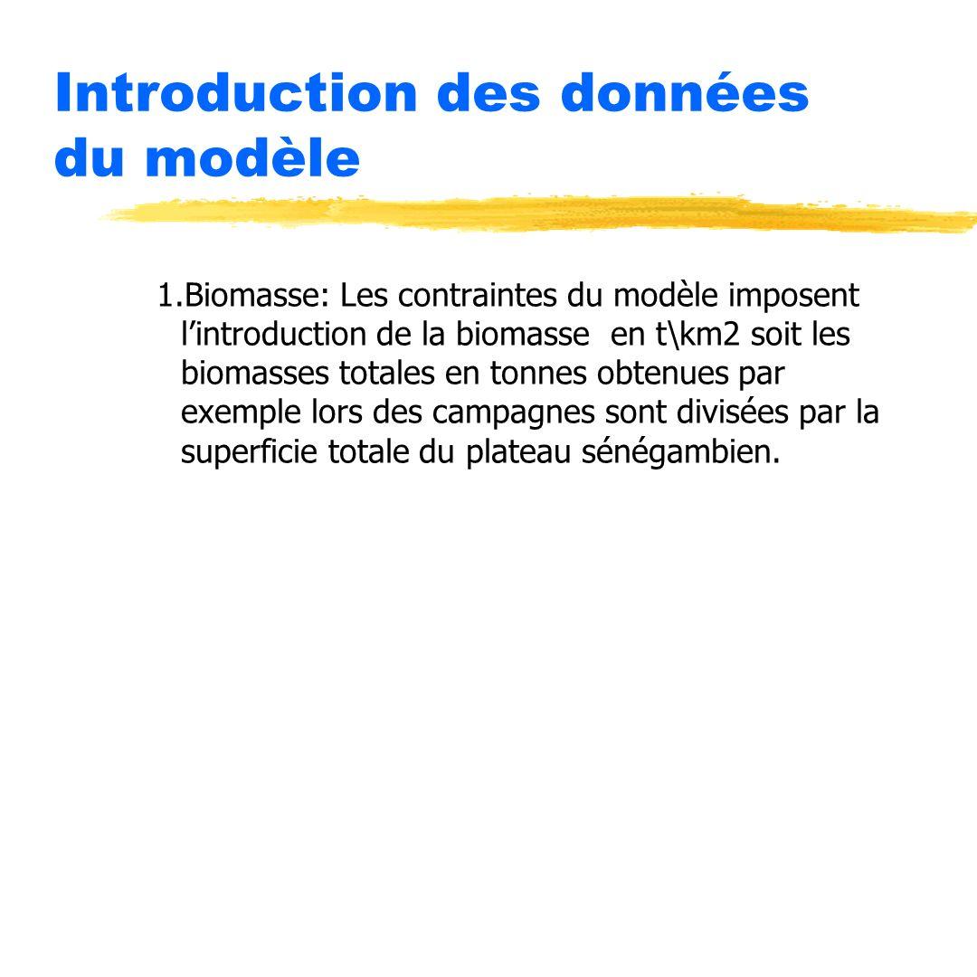 Introduction des données du modèle 1.Biomasse: Les contraintes du modèle imposent lintroduction de la biomasse en t\km2 soit les biomasses totales en