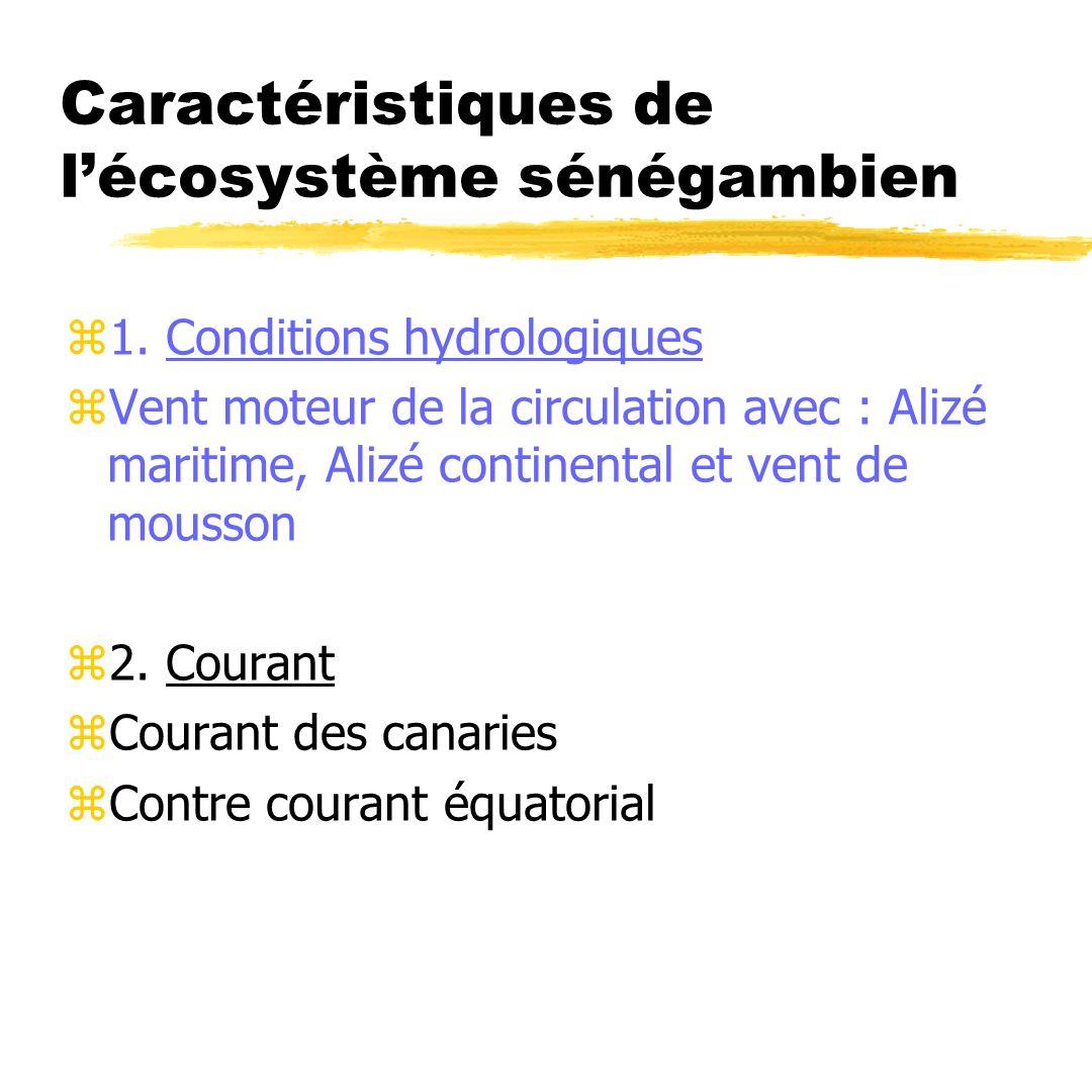 Caractéristiques de lécosystème sénégambien z1. Conditions hydrologiques zVent moteur de la circulation avec : Alizé maritime, Alizé continental et ve