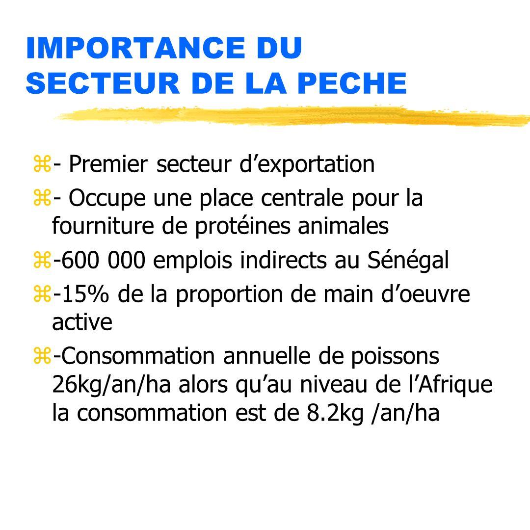 IMPORTANCE DU SECTEUR DE LA PECHE z- Premier secteur dexportation z- Occupe une place centrale pour la fourniture de protéines animales z-600 000 empl