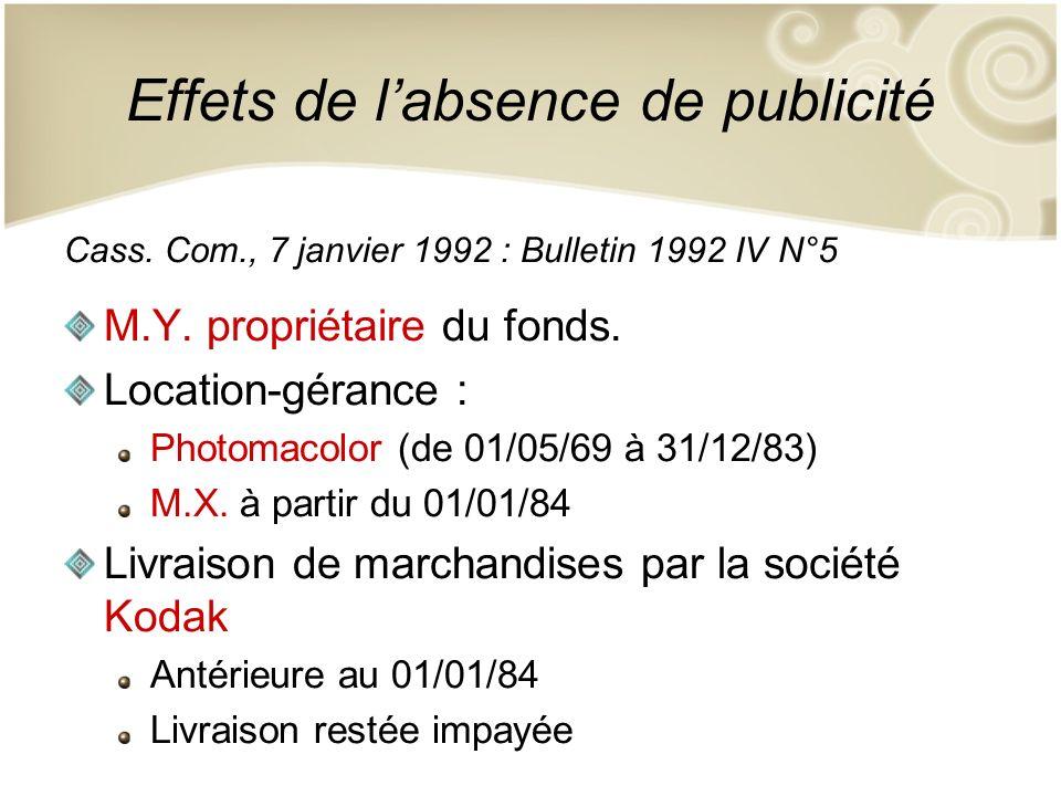 Effets de labsence de publicité Cass. Com., 7 janvier 1992 : Bulletin 1992 IV N°5 M.Y. propriétaire du fonds. Location-gérance : Photomacolor (de 01/0