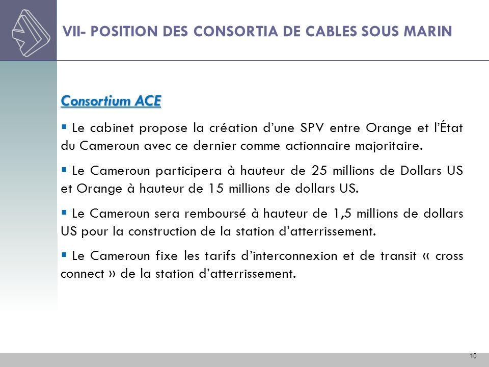 10 VII- POSITION DES CONSORTIA DE CABLES SOUS MARIN Consortium ACE Le cabinet propose la création dune SPV entre Orange et lÉtat du Cameroun avec ce d