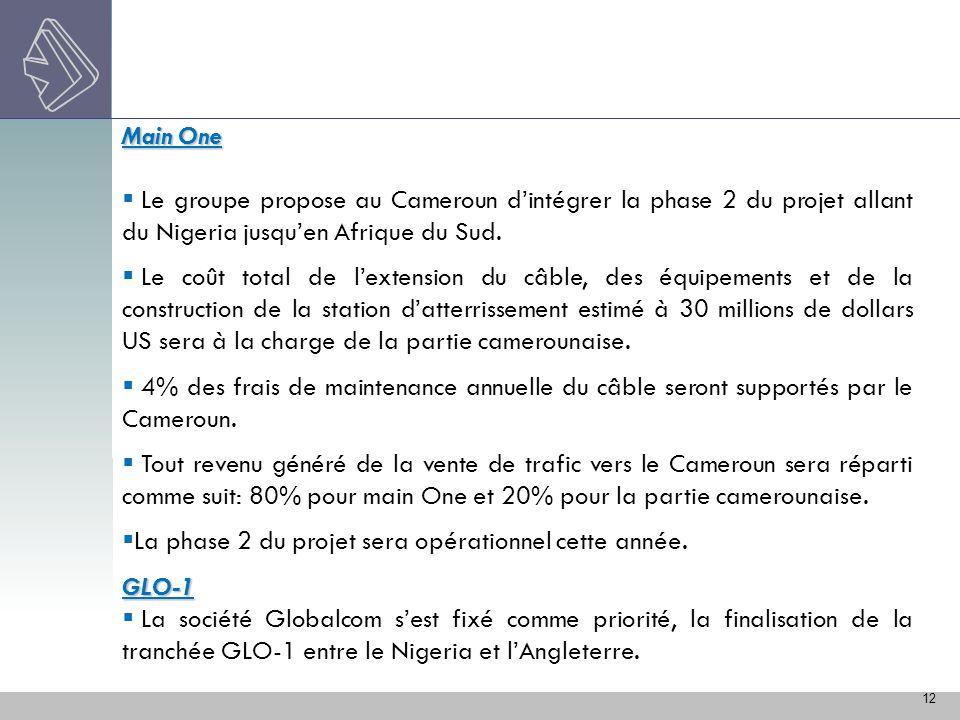 12 Main One Le groupe propose au Cameroun dintégrer la phase 2 du projet allant du Nigeria jusquen Afrique du Sud. Le coût total de lextension du câbl
