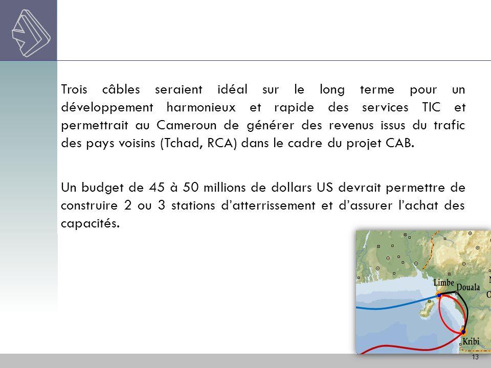13 Trois câbles seraient idéal sur le long terme pour un développement harmonieux et rapide des services TIC et permettrait au Cameroun de générer des
