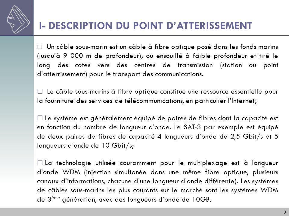 I- DESCRIPTION DU POINT DATTERISSEMENT 3 Un câble sous-marin est un câble à fibre optique posé dans les fonds marins (jusquà 9 000 m de profondeur), o