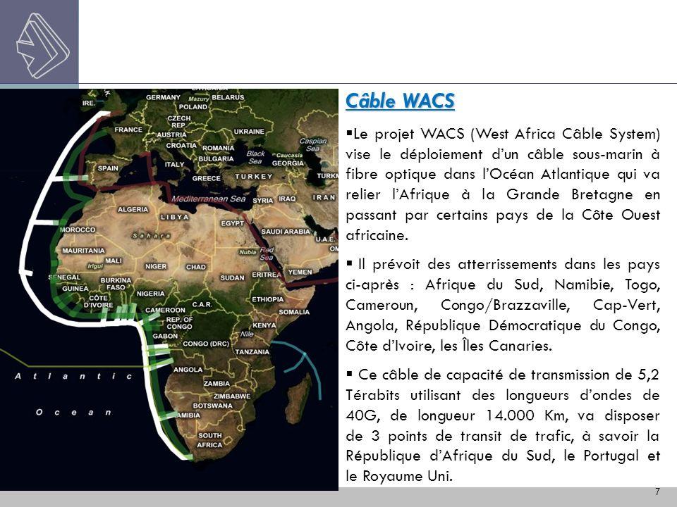 7 Câble WACS Le projet WACS (West Africa Câble System) vise le déploiement dun câble sous-marin à fibre optique dans lOcéan Atlantique qui va relier l