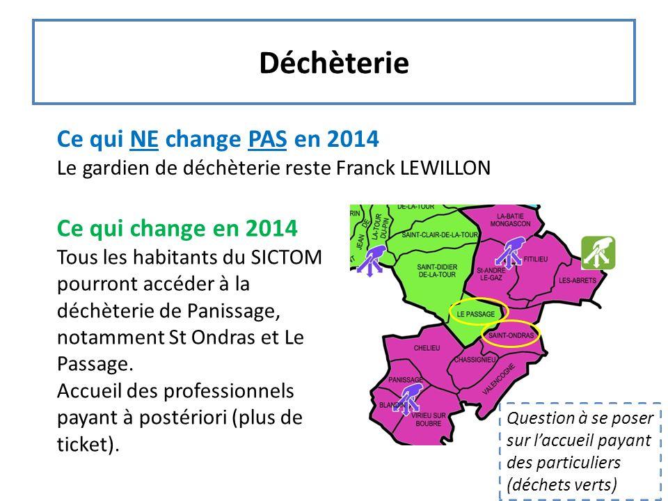 Déchèterie Ce qui NE change PAS en 2014 Le gardien de déchèterie reste Franck LEWILLON Ce qui change en 2014 Tous les habitants du SICTOM pourront acc