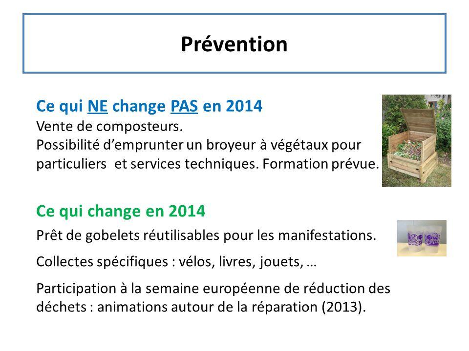Prévention Ce qui NE change PAS en 2014 Vente de composteurs. Possibilité demprunter un broyeur à végétaux pour particuliers et services techniques. F