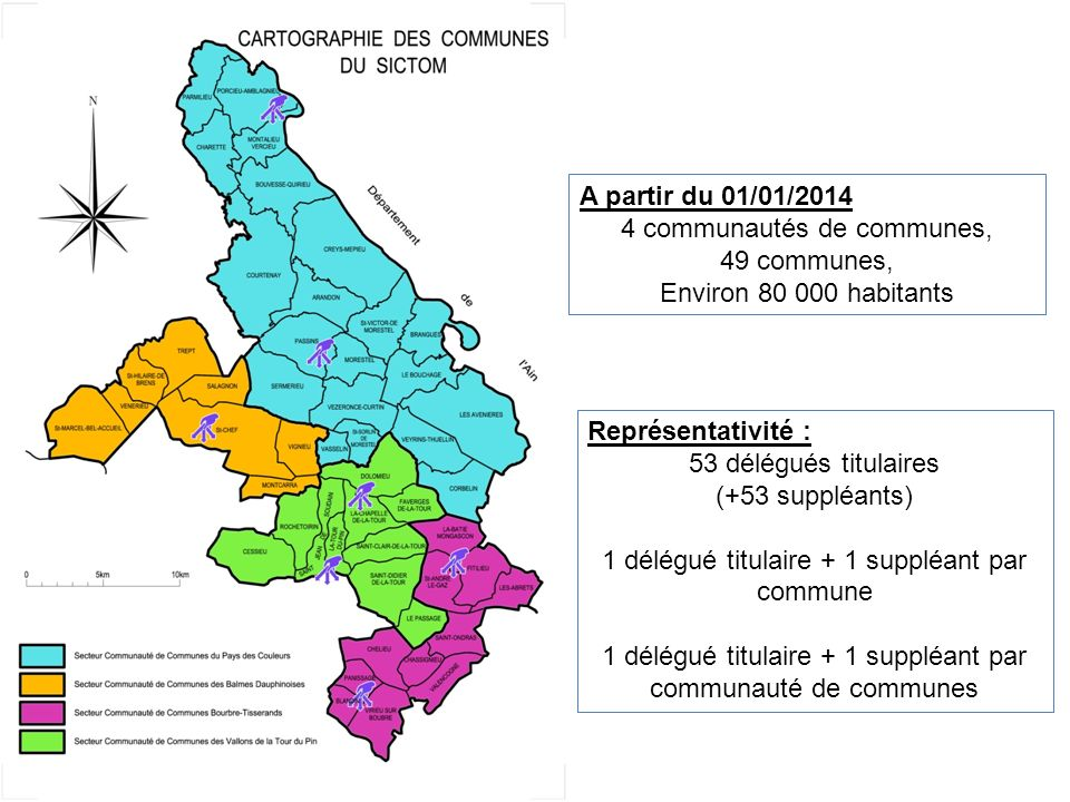 A partir du 01/01/2014 4 communautés de communes, 49 communes, Environ 80 000 habitants Représentativité : 53 délégués titulaires (+53 suppléants) 1 d