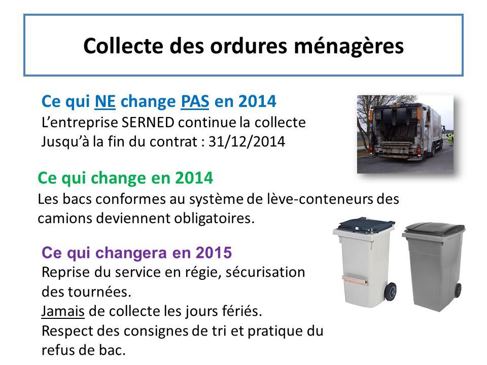 Collecte des ordures ménagères Ce qui NE change PAS en 2014 Lentreprise SERNED continue la collecte Jusquà la fin du contrat : 31/12/2014 Ce qui chang