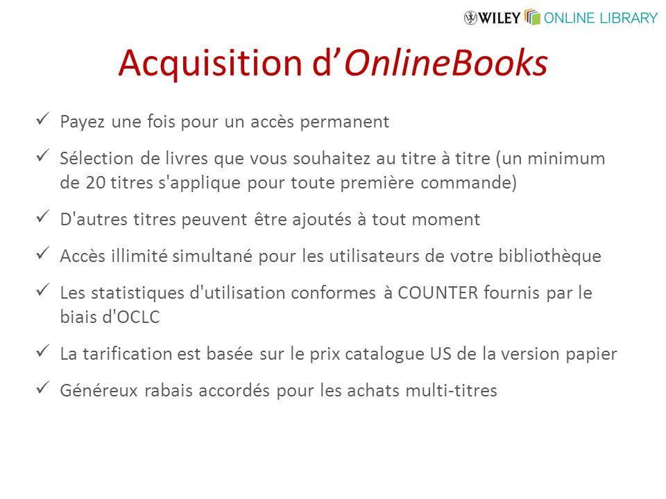 Acquisition dOnlineBooks Payez une fois pour un accès permanent Sélection de livres que vous souhaitez au titre à titre (un minimum de 20 titres s'app